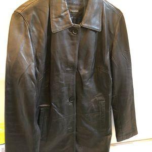 Authentic real leather black jacket Tahari